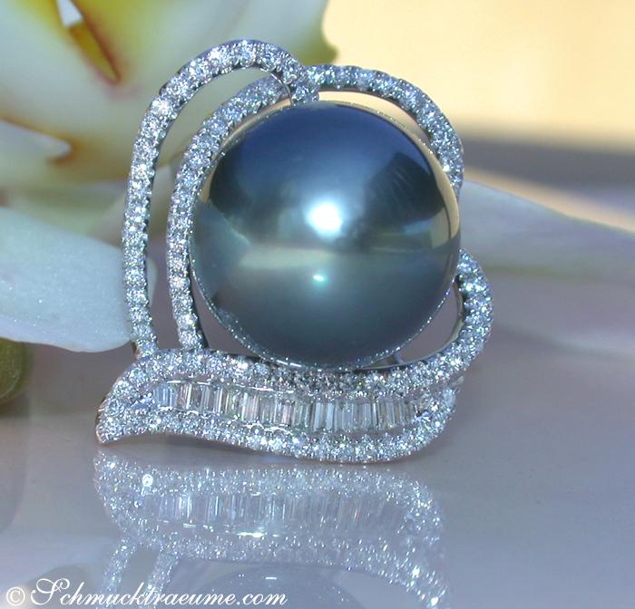 prachtvoller 15mm tahitiperle ring mit brillanten 2 80 ct tw vs1 wg750 12760 ebay. Black Bedroom Furniture Sets. Home Design Ideas