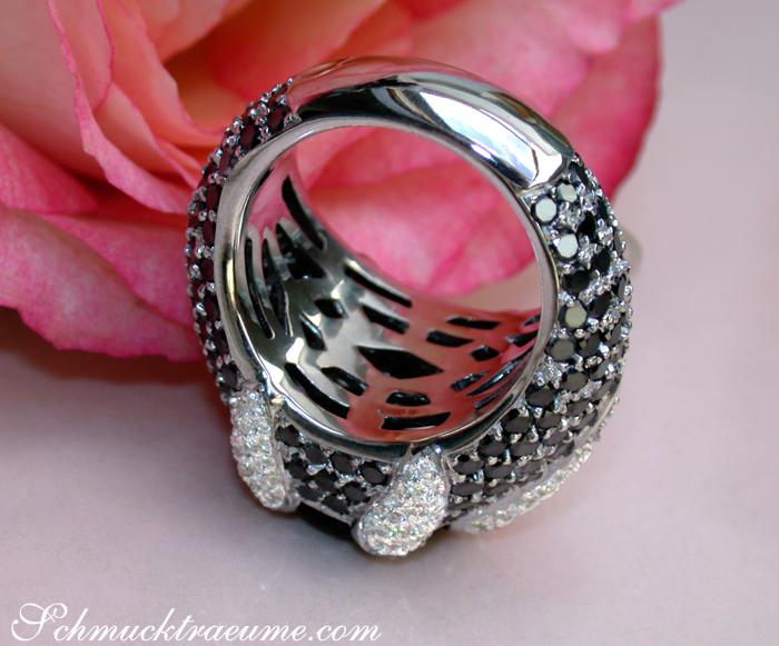 unikat schwarzer diamant solit r ring mit wei en diamanten ct wg 750 12300 ebay. Black Bedroom Furniture Sets. Home Design Ideas