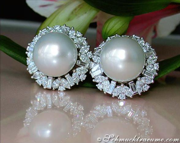 Luxus Südseeperlen Ohrstecker Mit Brillanten Und Diamanten